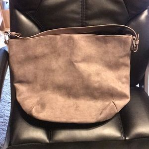 Old Navy Tote Brown Suede Feel Purse